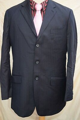 mens TM LEWIN wool suit self striped pattern navy size 44L W38 L32.5