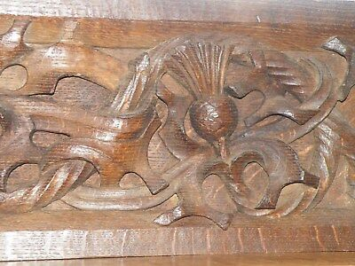 Superb Large Antique Quarter Sawn English Oak Deep Carved Gothic Boarded Panel