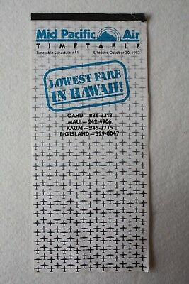 Mid Pacific Air Hawaii Timetable 1983