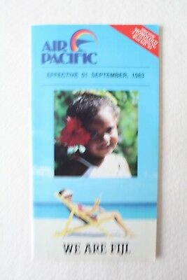 Air Pacific Fiji 1983 Timetable With Route Map & Sales Brochure