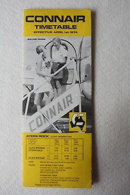 Connair Australia Timetable 1974