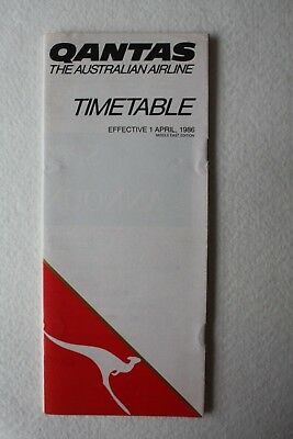 Qantas Airlines Timetable & Route Map 1986