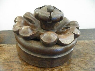 Fine Antique English Bold Deep Carved Oak Gothic/church Tudor Rose Ceiling Boss