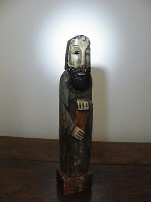 Striking Antique/vintage Carved Wood Polychrome Primative Folk Art Saint Santos