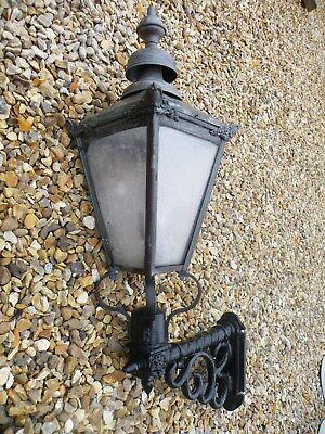 Quality Reclaimed Vintage Victorian Copper Street Lantern And Cast Wall Bracket