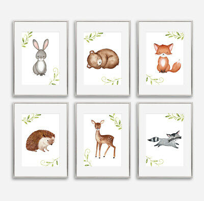 Woodland Animal Baby Nursery Prints Childrens Bedroom Wall Pictures Decoration
