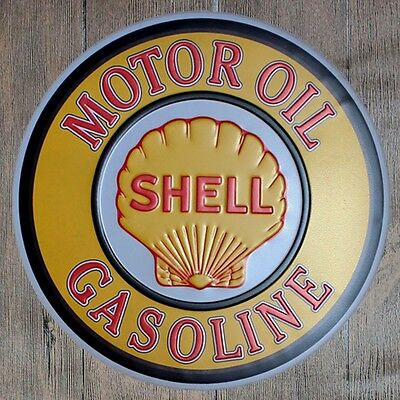 Metal Tin Sign round motor oil decor Bar Pub Retro Poster 30cm diameter