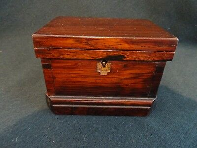 Antique/vintage Small Solid Dark Mahogany Hinged Chest Wooden Box With Lock