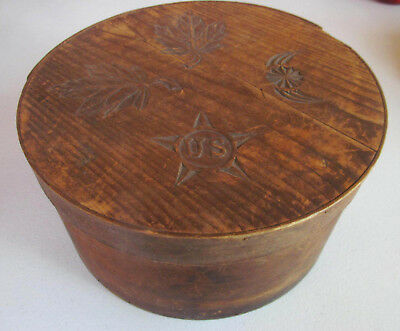 1800s Antique Folk Art Bentwood Covered Pantry Storage Box~Hand Carved Lid
