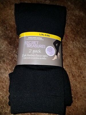 744be432cf1e7 SECRET TREASURES FLEECE Footless Tights Sz L/XL Black 2 Pk Brand New ...
