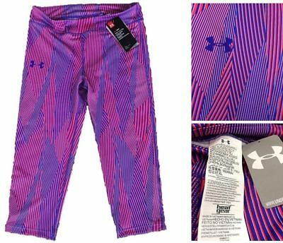 NWT Under Armour Heatgear Girls Purple Pink Fitted Legging Sz YXL $35