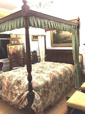 Antique four Poster bed Mahogany with bed base and new mattress Double