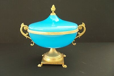 Antique French Opaline Royal Blue Art Glass Urn/lid Gorgeous Large 8.5 In. High