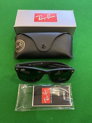 aa8f5970af Ray-Ban New Wayfarer Rb2132 622 Black Rubberised Sunglasses With Box   Case