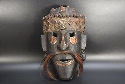 Tibetan Antique Primitive Carved Wood Shaman Mask Himalayan Mountain Mask Nepal