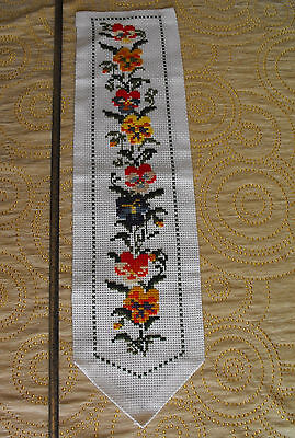 vintage cross-stitch hand-embroidered tapestry Violets linen and wool