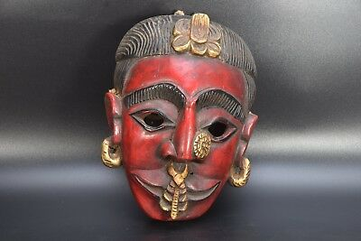 Tibetan Tribal woman red head  Antique Carved Wood Himalayan Mountain Mask nepal
