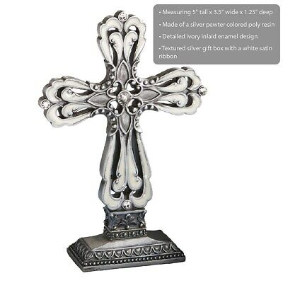 15 Pewter Cross Statue Christening Baptism Baby Shower Wedding Party Gift Favors