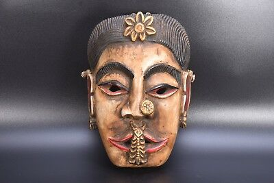 Ethnic Tibetan Tribal woman Antique Carved Wooden Himalayan Mountain Mask Nepal
