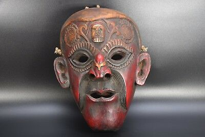 Jhakri Shamanic Shaman Antique Carved Wood Tibetan Himalayan Mountain Mask Nepal