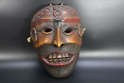 Primitive Carved Wood Shamanic Shaman Antique Tibetan Himalayan Ban Jhakri Mask
