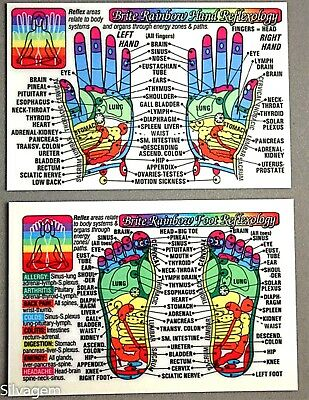 Foot Hand Reflexology Acupressure Code Laminated Wallet Card Chart Pocket Guide