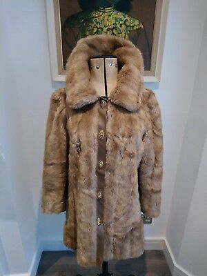 Women's Vintage Faux Fur Coat With Leather Panels retro chic 60s 70s jacket look
