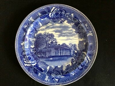 Wedgewood Blue And White Round 9 Inch Plate..mount Vernon