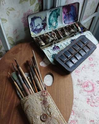 Delicieux Vintage French Artists Palette Brushes & Paints- Perfect Display