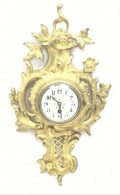 Lovely Antique French 1870's Embossed Gilt Bronze Tic-Tac Cartel Wall Clock