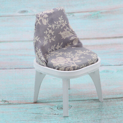 Miniature Floral Wooden Chair Stool Dining Room Furniture 1/12 Dollhouse A