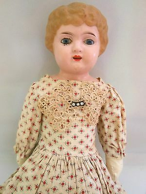 """Antique Lg 21"""" Minerva 6 German Tin Head Doll, Glass Eyes, Old Calico Lace Dress"""