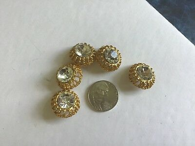 Antique Buttons, Glass Stones Set on Metal set of 5  Very old.