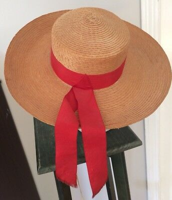 337559d7 VINTAGE 1930S 40S Straw Sun Hat Wide Brim Made in Italy 7 1/4 ...