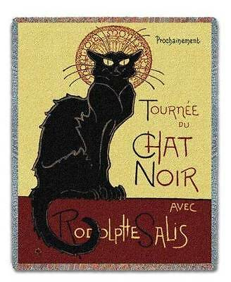 Le Chat Noir Steinlen Black Cat Tapestry Afghan Throw Blanket USA MADE! NEW