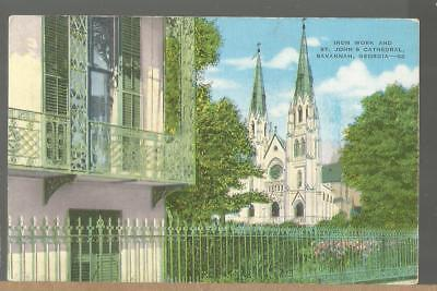 Iron Work and St. John's Cathedral, Savannah, Georgia Postcard ; unposted
