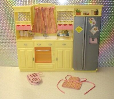 SALE Barbie Doll Play All Day Kitchen Play Set Unit Fridge Oven Sink Curtains