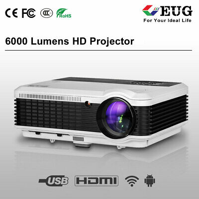 6000lm Smart Projector Android HD LED Wifi Online Home Theater Kodi YouTube HDMI