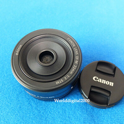 Canon EF-M 22mm F2 STM Lens For EOS M (Color:Black)  Fast WorldWide Shipping -