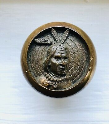 """RARE Collectible Antique Brass Door Knobs """"Three Feathered Indian"""" Fraternal"""