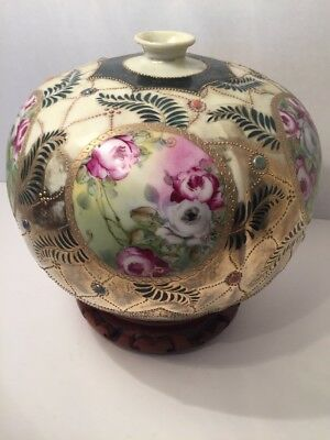Antique Nippon Maple Leaf Mark  Beaded Hand Painted Jewels  Stand Round Vase