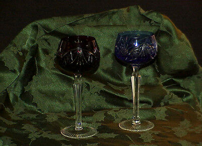 2 Val ST Lambert Ruby & Cobalt Cut to Clear Cased Crystal Wine Goblets Vintage