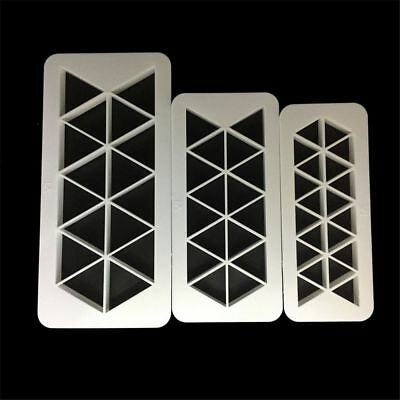 3PCS/Set Equilateral Triangle Geometry Fondant Cookie Cutter Cake Mold Decor New