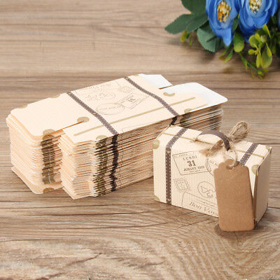 10-100Pcs Wedding Favor Suitcase Paper Kraft Candy Boxes Sweet Gift Box Party WC