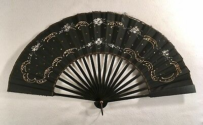 c1880's Antique Victorian Mourning Hand Painted Fan Black Silk Wood Slats Nice!