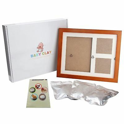 Baby Hand and Footprint Clay Kit Wood Photo Frame Christenings