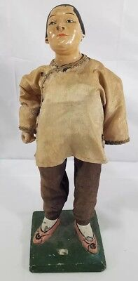 Early Antique Asian Paper Mache Doll (Missing Arm And Left Ear)
