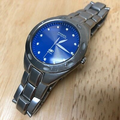 Fossil AM-3390 Men Lady 100m Silver Blue Analog Quartz Watch Hours~New  Battery a760df51aa17