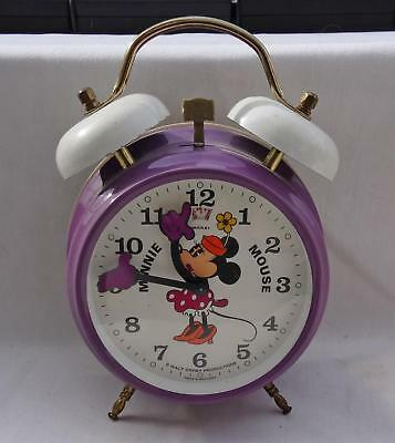 DISNEY Minnie Mouse BRADLEY Vintage Alarm Clock walt productions MADE IN GERMANY