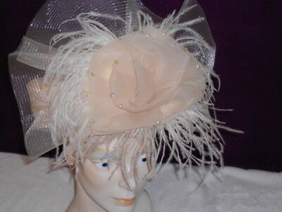 d0aa6217e WHITTALL & SHON Womens Fancy Hat Ivory Cream Pill Box Hat with Ostrich  Feathers